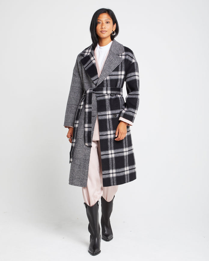 Two-tone Wool Blend Coat