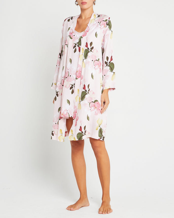 100% Organic Cotton Floral Robe and Slip Set