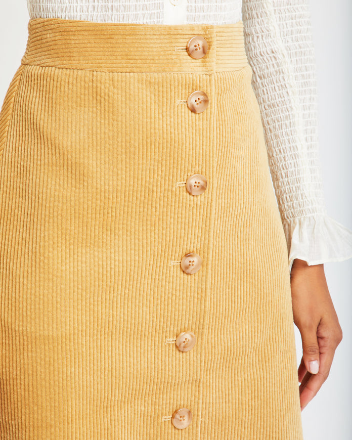Button-up Cotton Midi Skirt