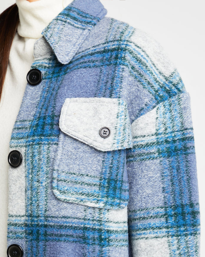 Flannel Wool Blend Oversize Shirt-Jacket