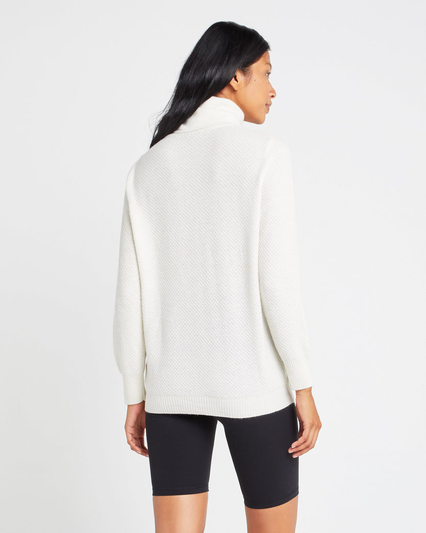 Waffle-Stitch Turtleneck Wool Blend Sweater