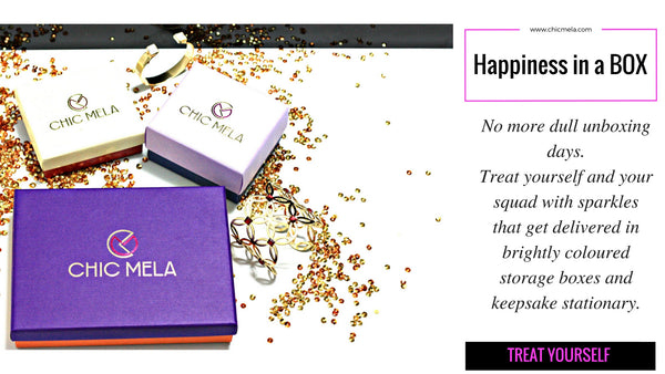 Colourful and Keepsake Box Packages with every ChicMela delivery. Say yes to happiness in a box.