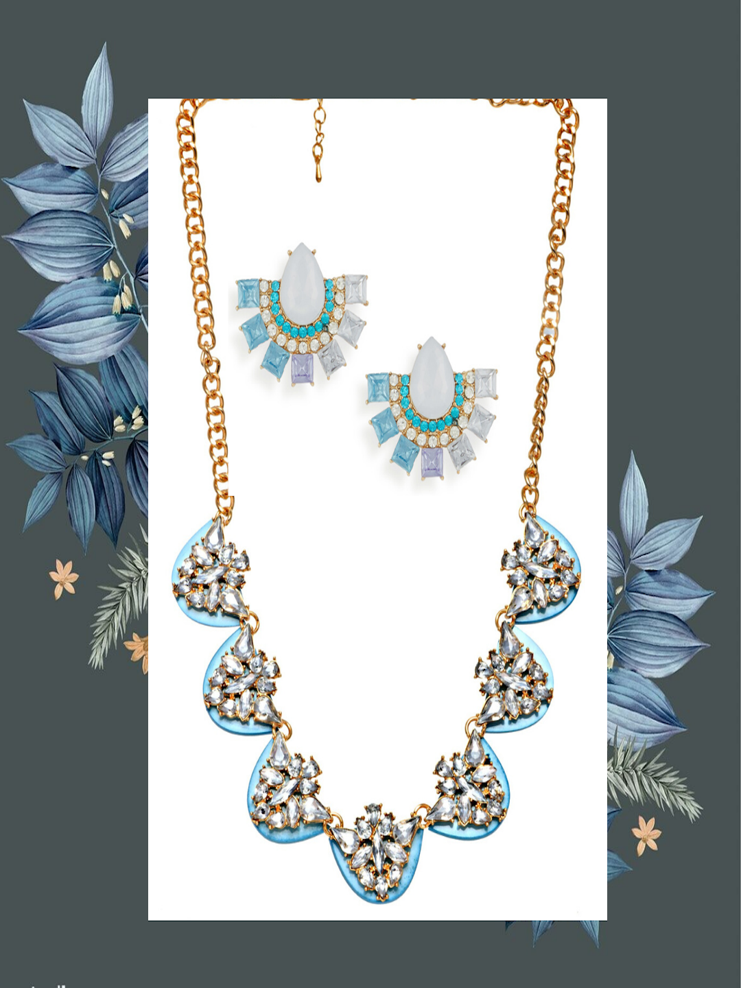 Gift Saver Combo Saver- Blue Necklace and Earring Set - ChicMela