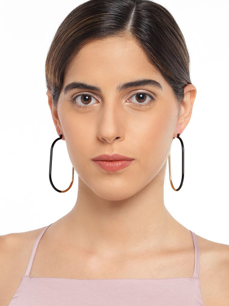 Black and Gold Hoops - ChicMela