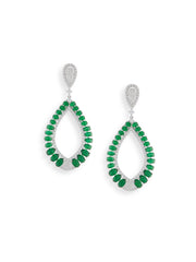 Cubic Zirconia Green Statement Earrings - ChicMela