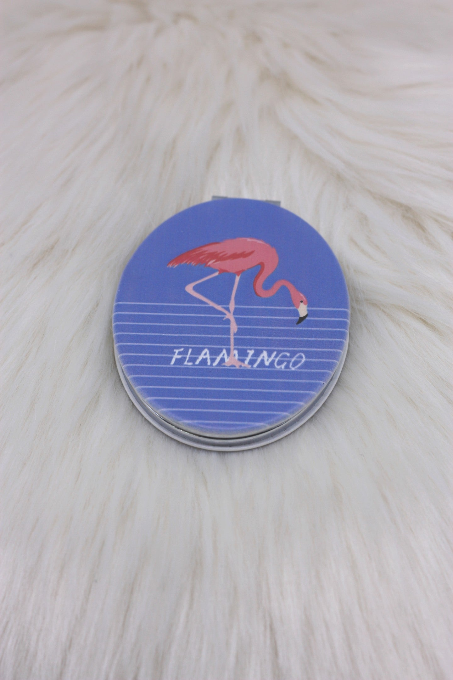 Blue and Pink Flamingo Compact Mirror - ChicMela