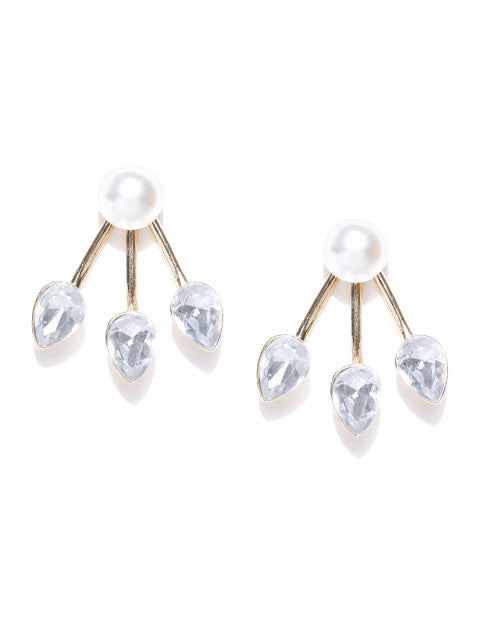 Detachable 2 in 1 Crystal & Pearl Studs-White - ChicMela