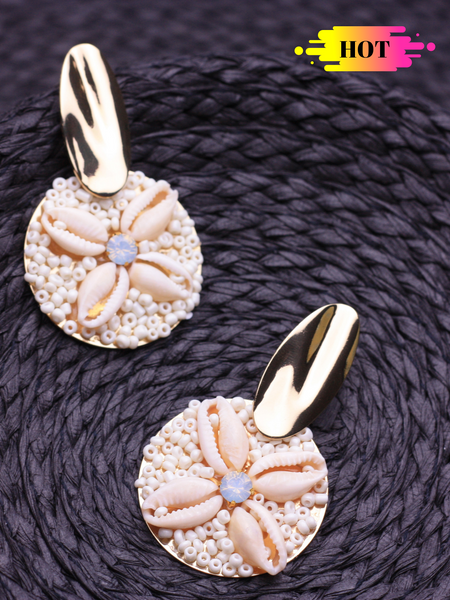 Beaded Handmade Shell Earrings