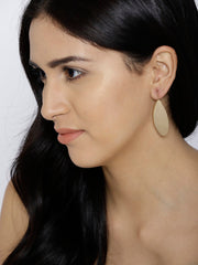 London- Geometric Shaped Oval 14k Gold Plated Drops - ChicMela