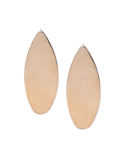 London-Geometric Shaped Oval 14k Rose Gold Plated Drops - ChicMela