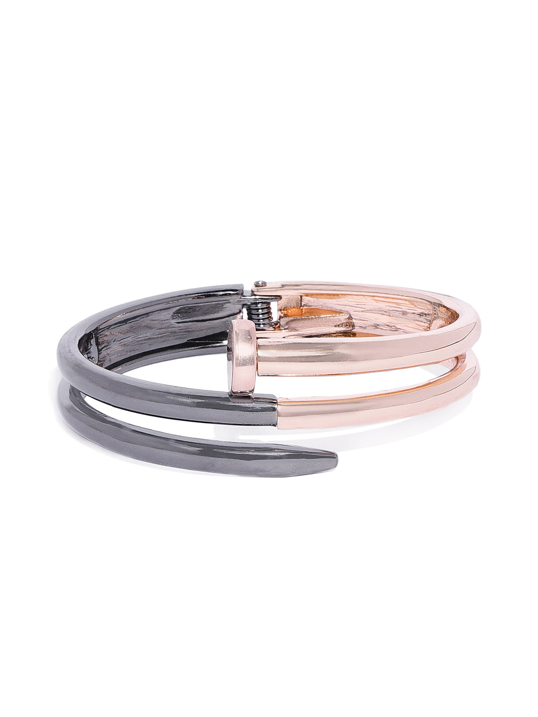 Nail Cuff in Rose Gold and Black - ChicMela