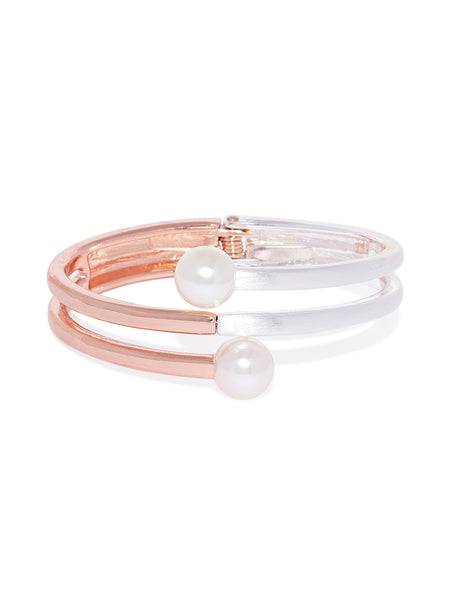 Rose-gold and Silver Pearl Cuff