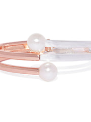 Rose-gold and Silver Pearl Cuff - ChicMela