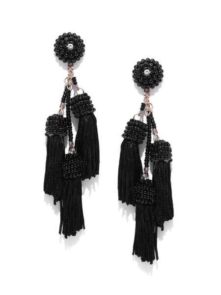 Kyra Tassel Black Earrings