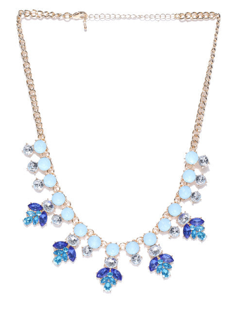 Floral Motif Collar Necklace - ChicMela