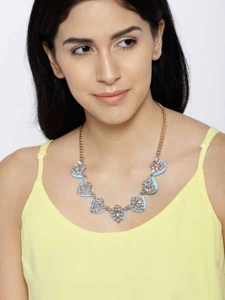 Ice Blue Collar Necklace - ChicMela