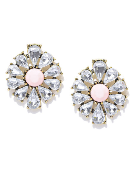 Coral Daisy Crystal Statement Earrings