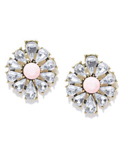 Coral Daisy Crystal Statement Earrings - ChicMela