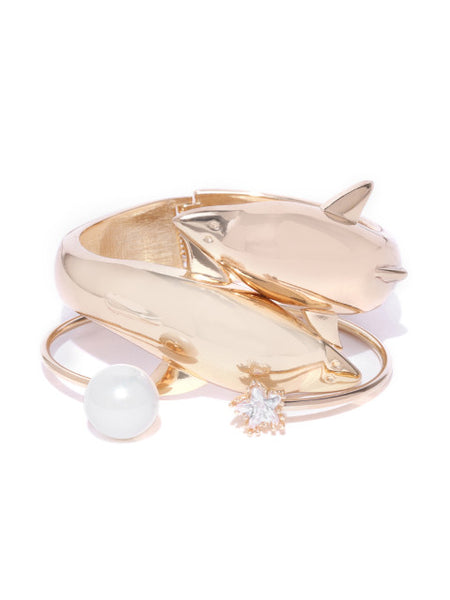 Dolphin and Pearl Ocean Cuff Set