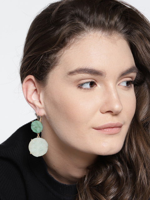 Work Wear Druzy Earrings in Green - ChicMela