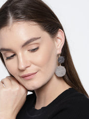 Work Wear Druzy Earrings In Grey - ChicMela