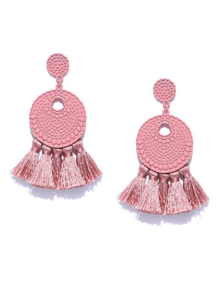 Arden Dusty Pink Tassel Earrings