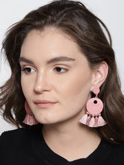 Arden Dusty Pink Tassel Earrings - ChicMela