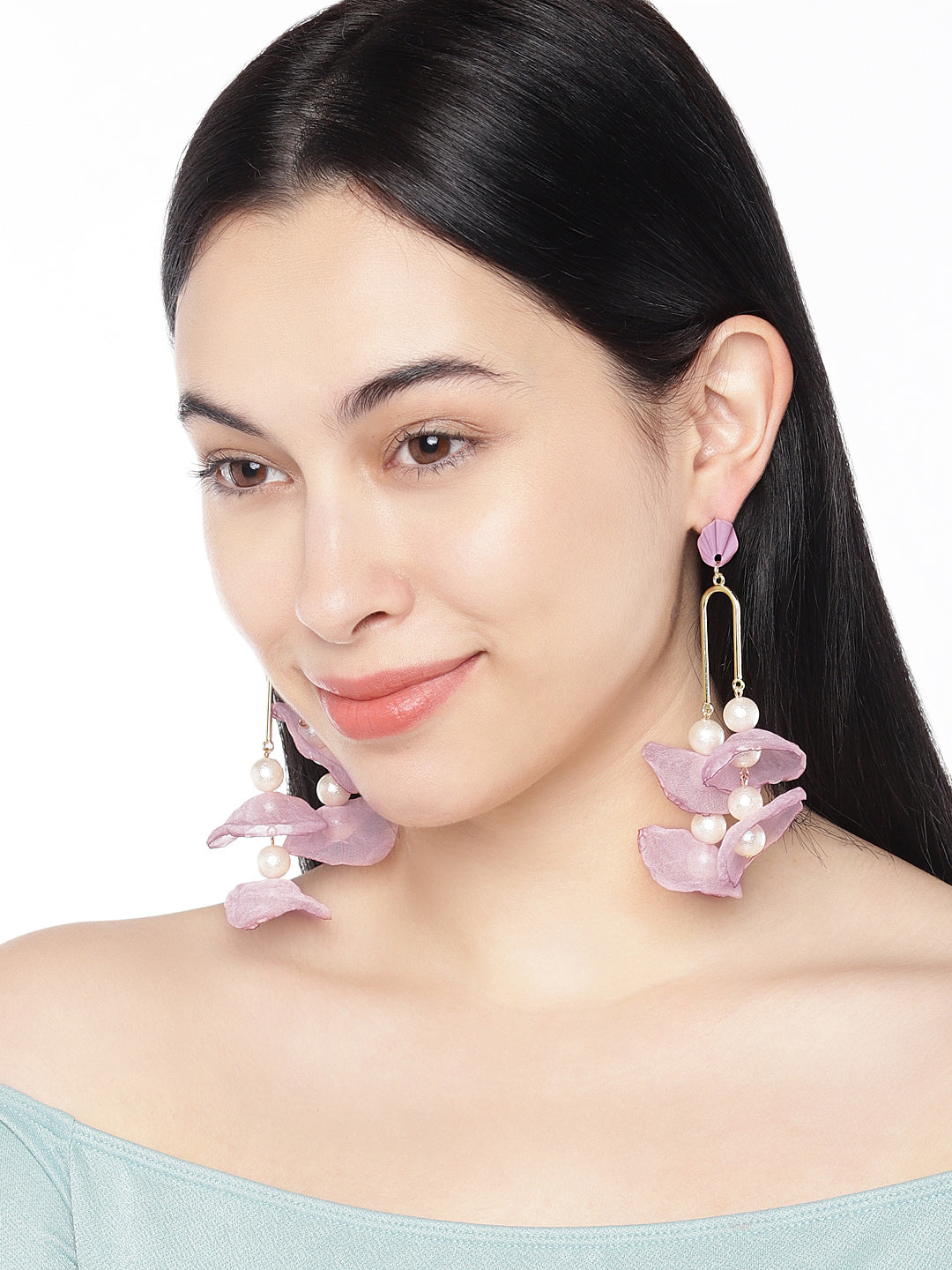 Handmade Floral Fabric Pearl Drops - ChicMela