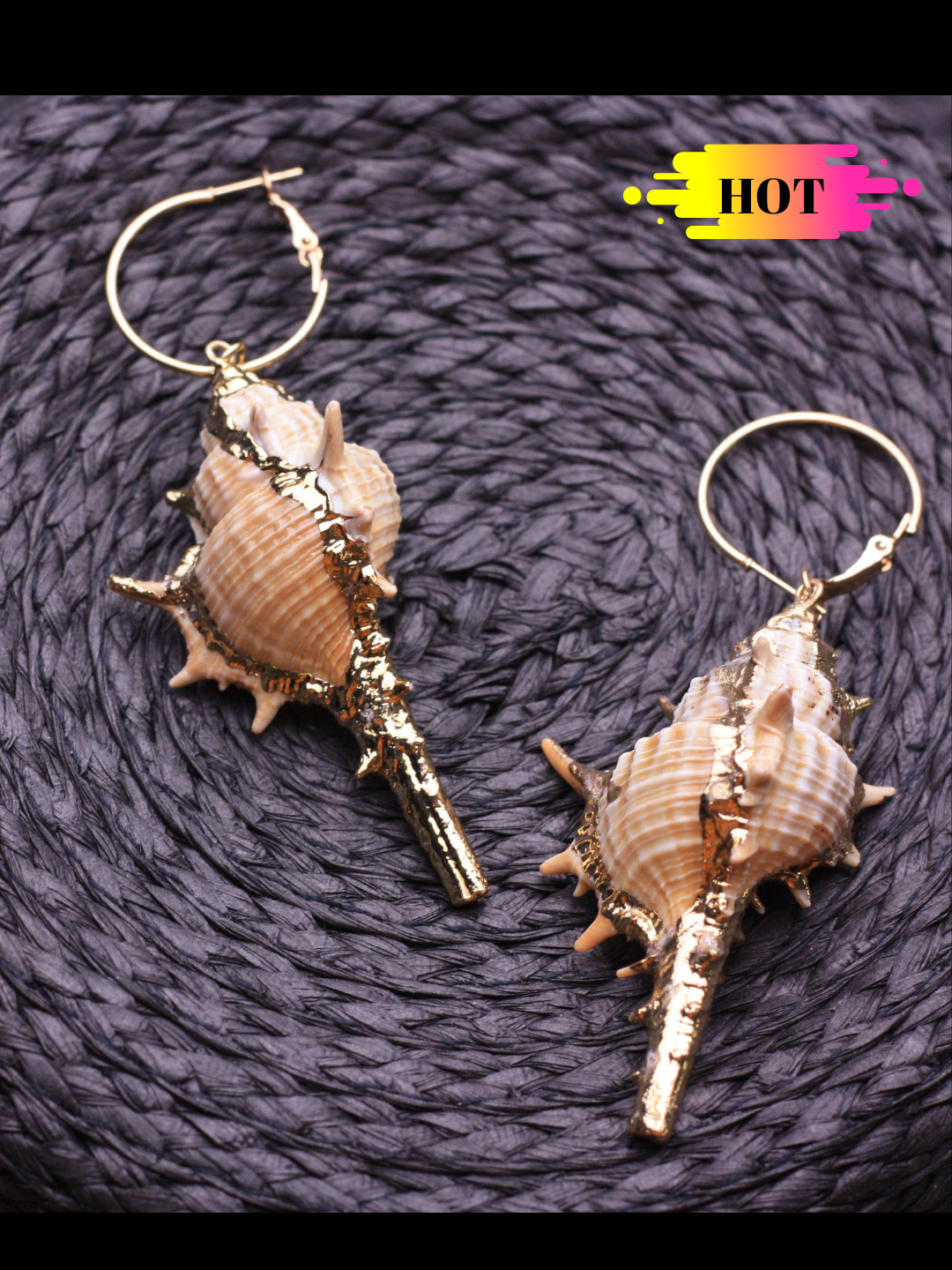 Big Natural Shell Earrings - ChicMela