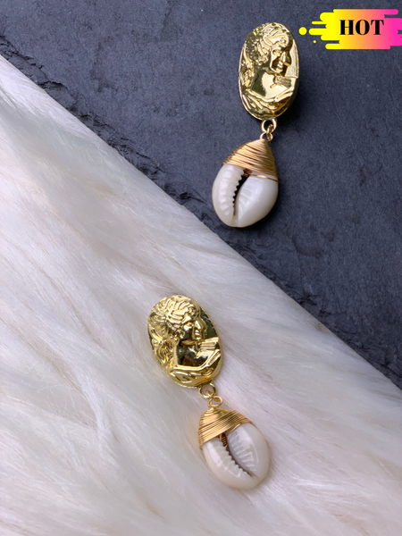 Roman Coin Shell Earrings