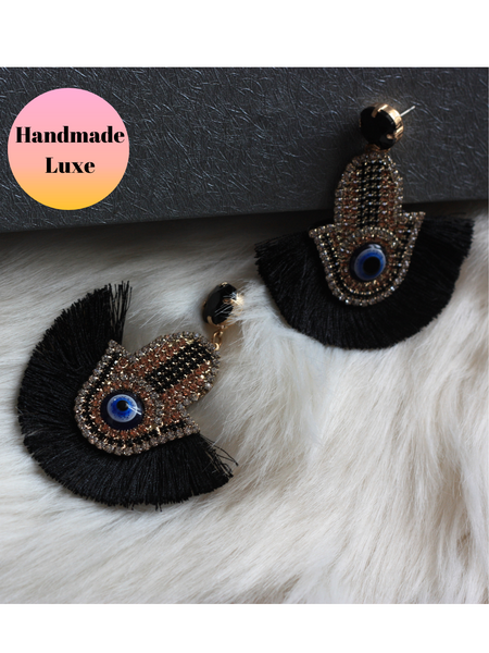 Handmade Hamsa Evil Eye Earrings