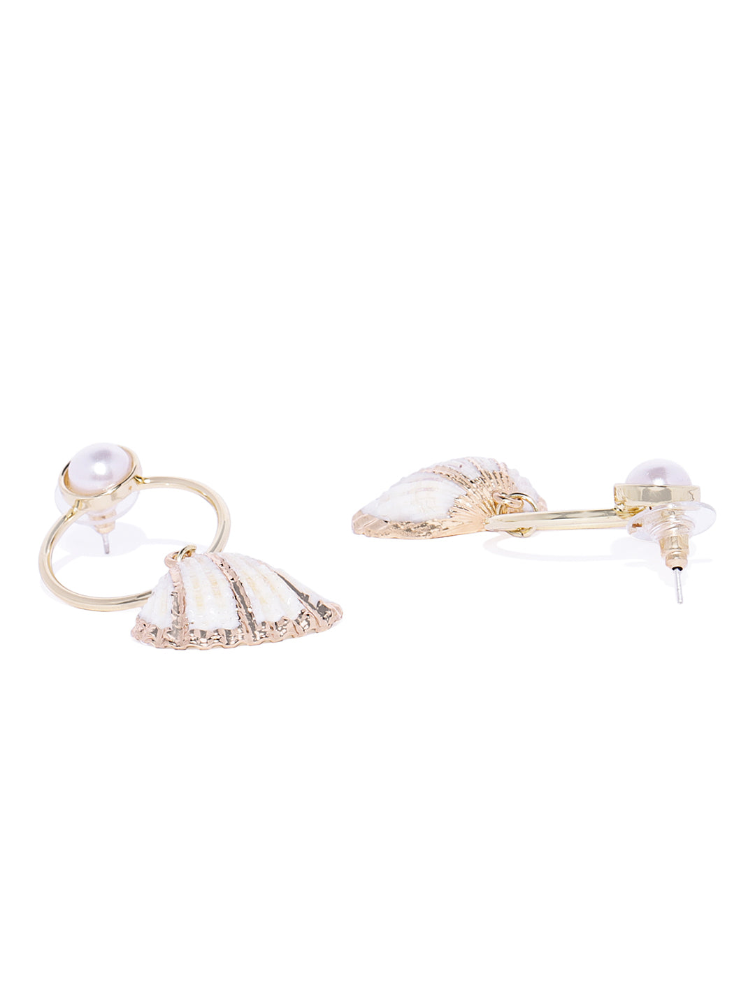 Gold and White Natural Shell Drops - ChicMela
