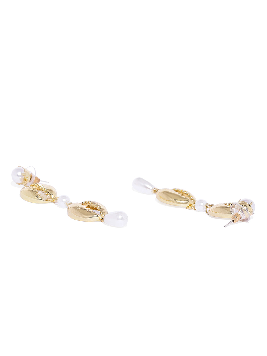 Gold Shell and Pearl Drops - ChicMela