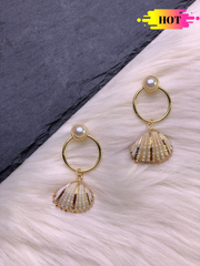 Gold and White Natural Shell Drops