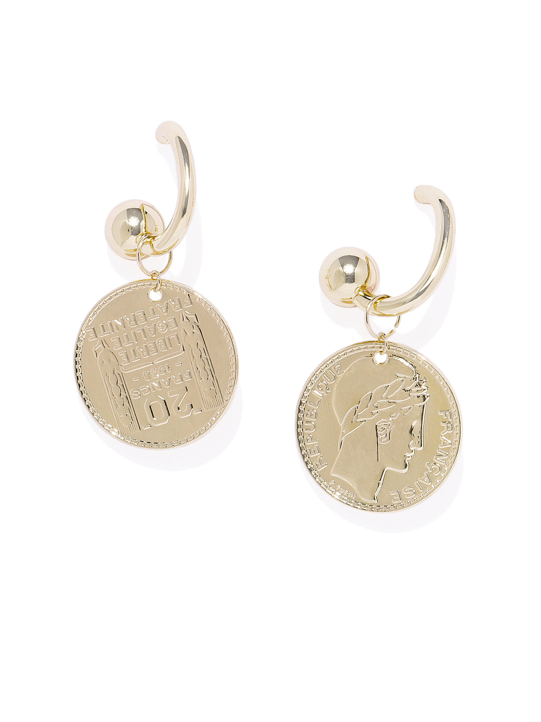 Roman Coin Gold Earrings - ChicMela