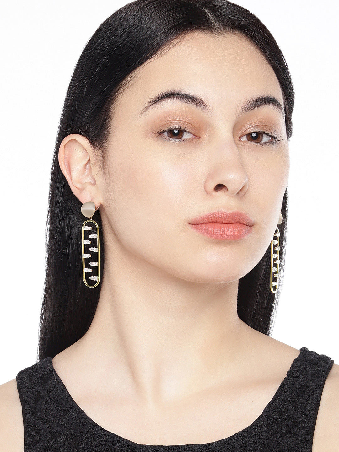 Luxe Crystal Gold Drop Earrings - ChicMela