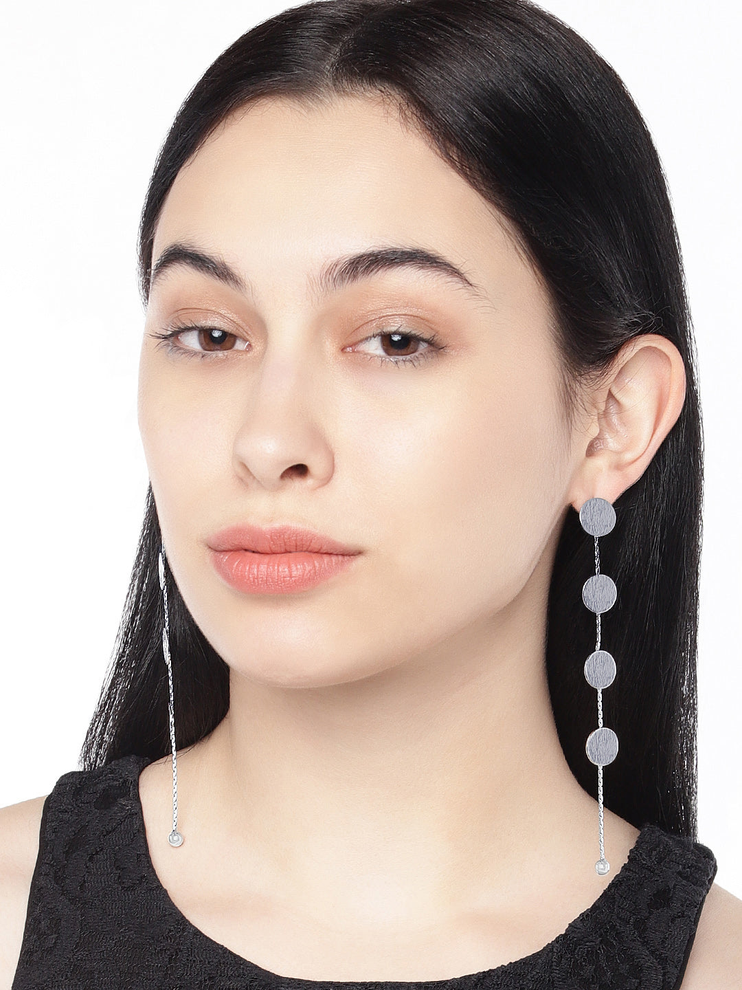 Aura Silver Circular Drop Earrings - ChicMela