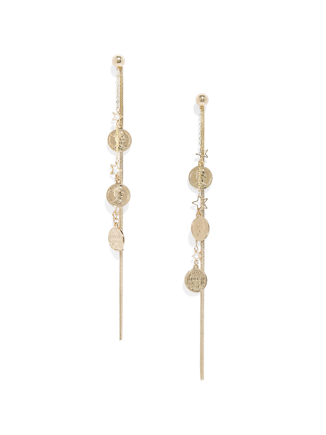 Roman Coin Long Earrings - ChicMela