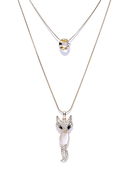 Cubic Zirconia Fox Chain Necklace