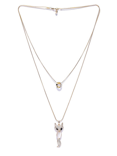 Cubic Zirconia Fox Chain Necklace - ChicMela