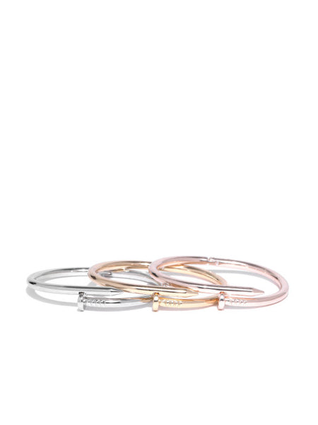 Gold, Silver and Rose Gold Bracelet Set