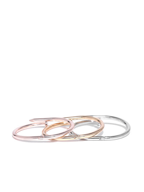Gold, Silver and Rose Gold Bracelet Set - ChicMela