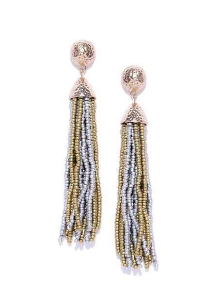 Contemporary Beaded Tassel in Gold and Silver