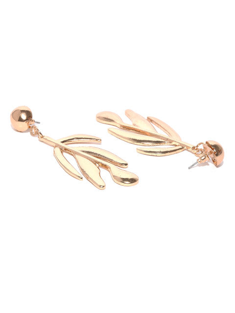 Gold Plated Dramatic Leaf Earrings - ChicMela