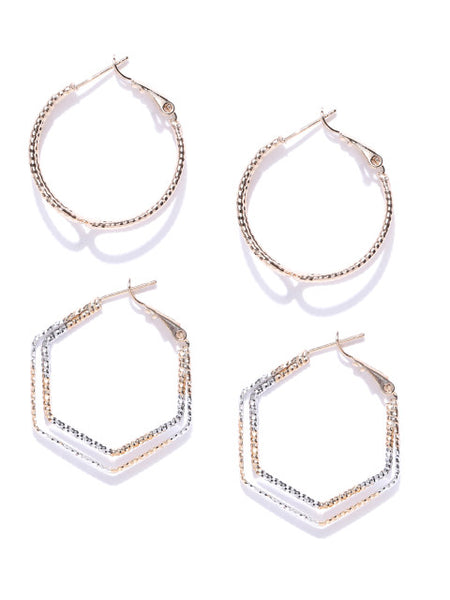 Gold and Silver Geometry Hoop Set