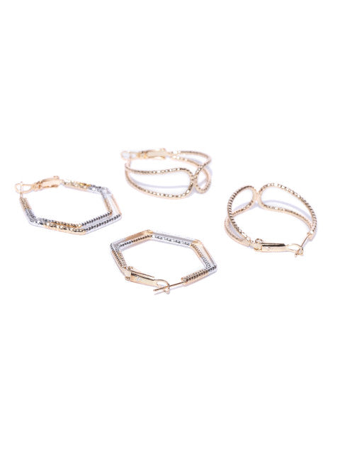 Gold and Silver Geometry Hoop Set - ChicMela