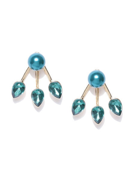 Detachable 2 in 1 Crystal & Pearl Stud-Emerald Green