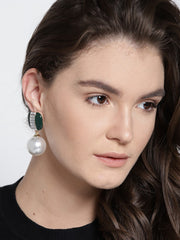 Pearl Drop Earrings- Dark Green - ChicMela