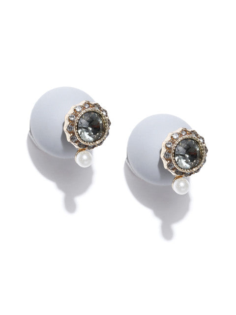 Double Sided Classic Studs- Grey - ChicMela