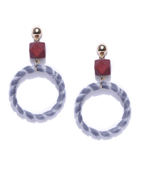 Wood and Velvet Grey Earrings - ChicMela